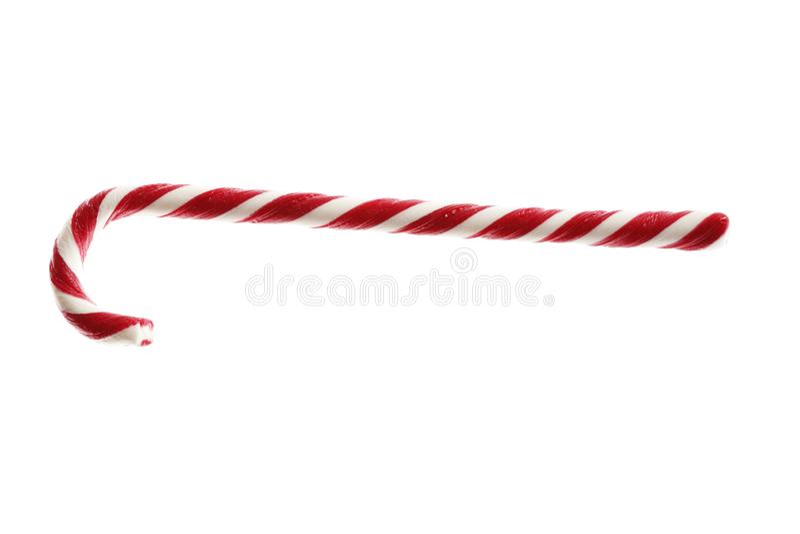 Canne de sucrerie douce de Noël d'isolement sur le fond blanc photo stock
