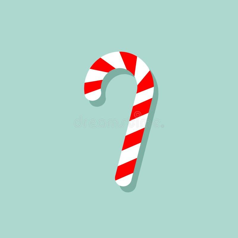 Canne douce streped rouge et blanche de Noël Image de vecteur de canne de sucrerie d'isolement au fond bleu Design de carte illustration de vecteur