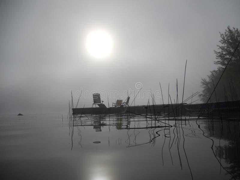 Canne e molo che riflettono nell'acqua su una mattina nebbiosa immagine stock
