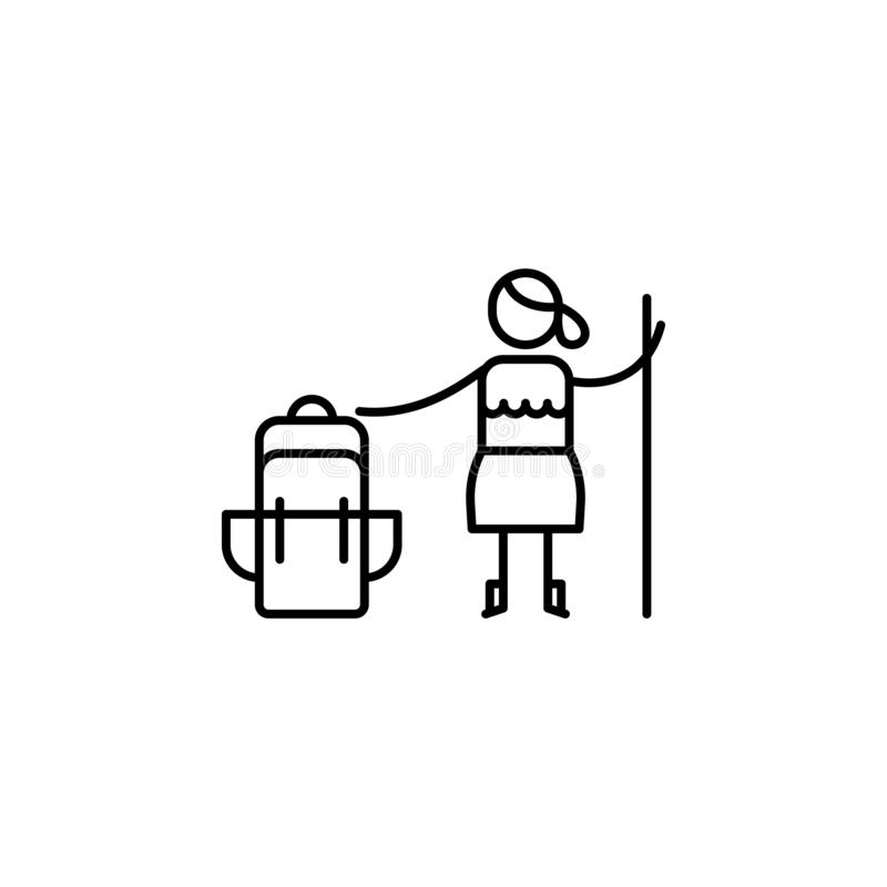 Canne, icône de randonneur Élément des personnes dans la ligne icône de voyage Ligne mince icône pour la conception de site Web e illustration libre de droits