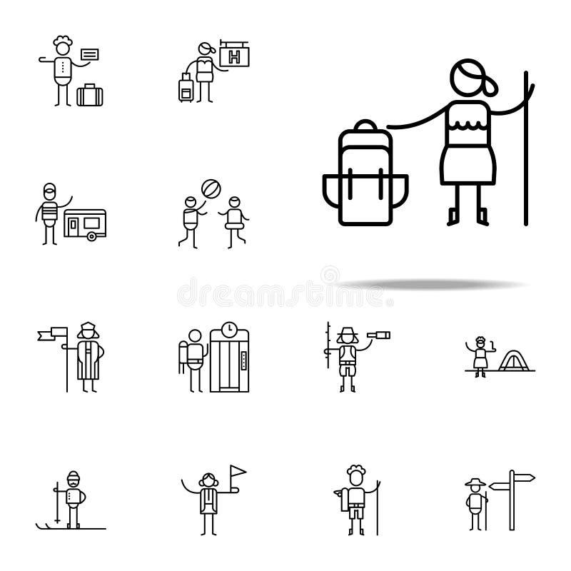 Canne, icône de randonneur Ensemble universel d'icônes de voyage pour le Web et le mobile illustration libre de droits