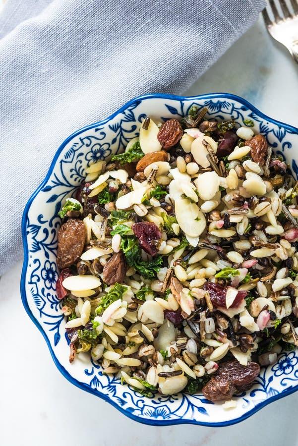 Canneberge et salade d'orzo d'amandes image stock