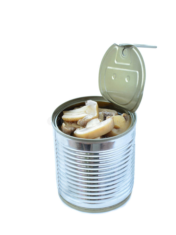 Canned button mushrooms in tin isolated on white. Background royalty free stock images