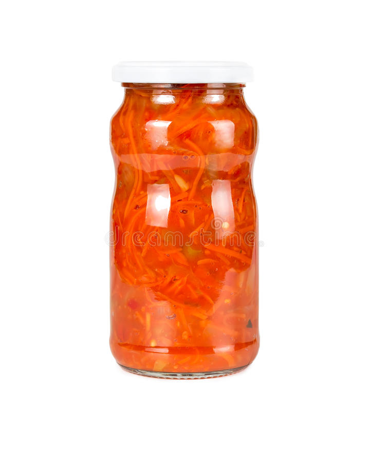 Canned carrots in a tomato sauce stock photos