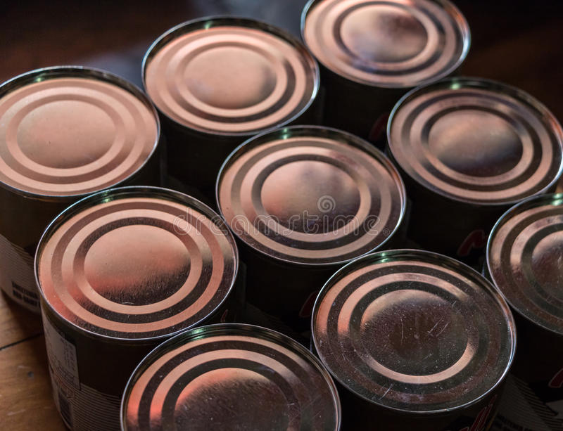 Canned condensed milk stock photo