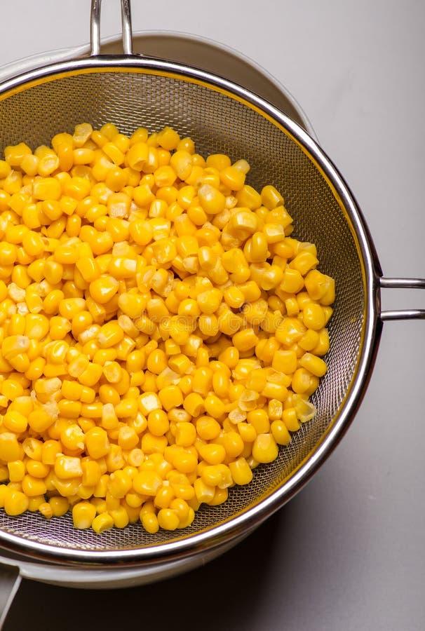 Canned corn. In a metallic sieve- closeup stock photo