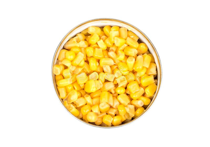 Canned corn in tin royalty free stock photography