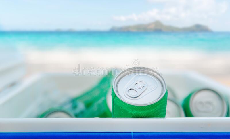 Canned a drink refreshing ice bucket the beach stock photos