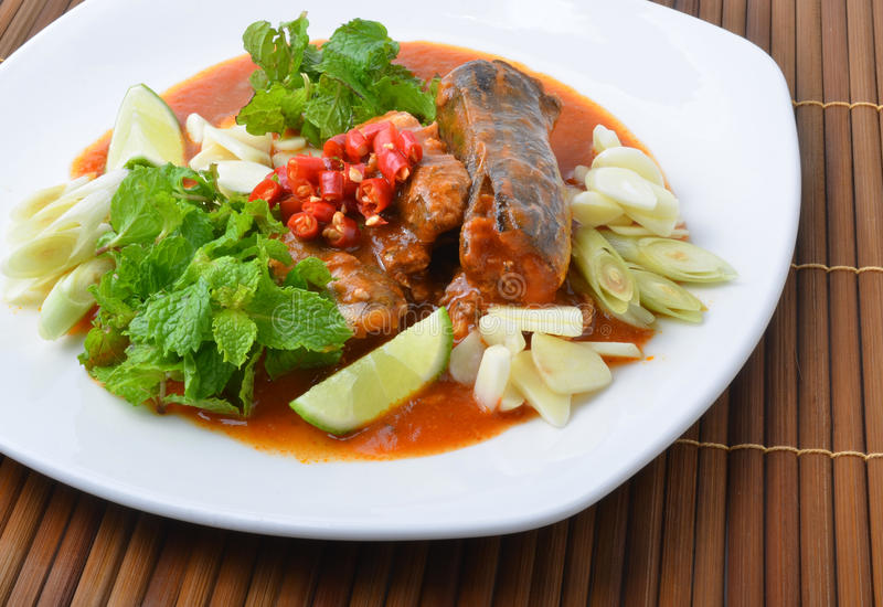 Canned fish mix, Yum thai food style stock photography