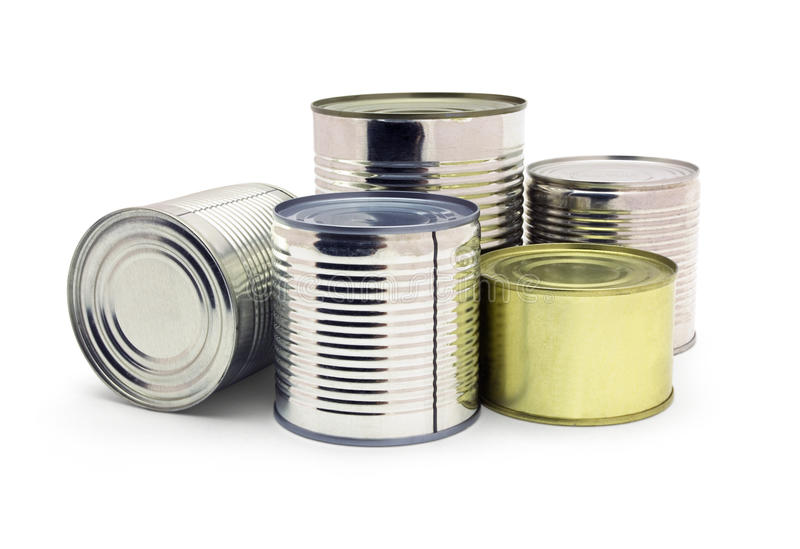 Canned food. Group of food tin cans isolated on white royalty free stock image