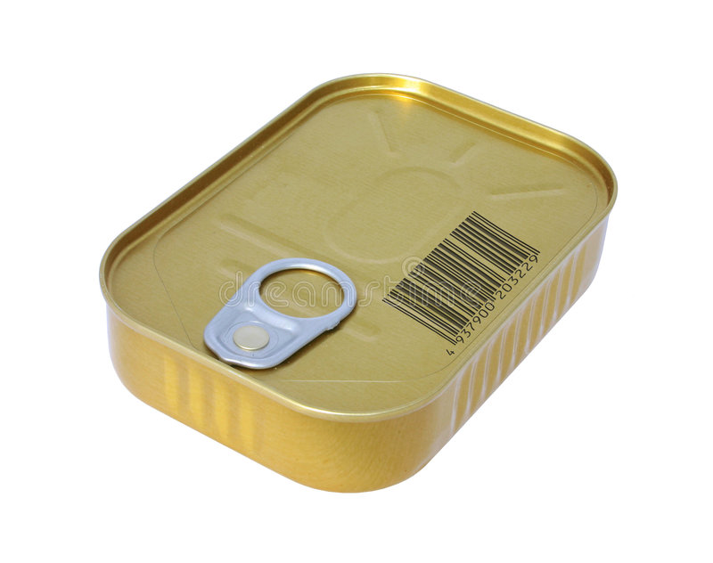 Canned food with fake bar code royalty free stock photography
