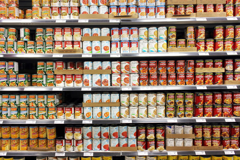 Canned food products stock image