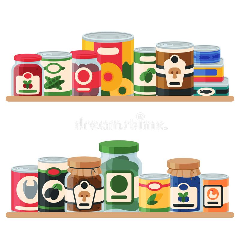 Canned food shelf vector illustration. Vegetable product tinned container metal packaging. Soup conserve package can vector illustration