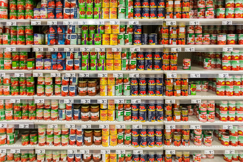 Canned Food In Supermarket royalty free stock photography