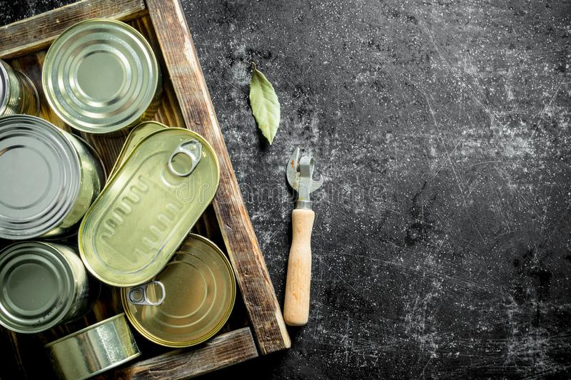 Canned food in tin cans on a wooden tray. On dark rustic background royalty free stock image
