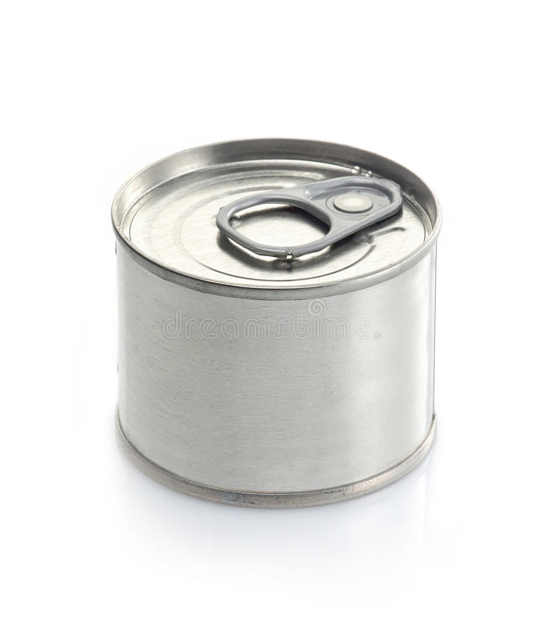 Canned food. Tin on a white background royalty free stock image