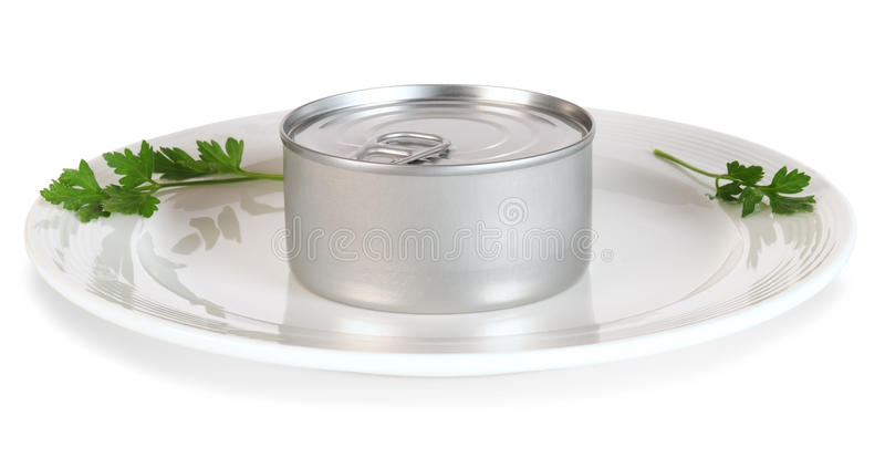Download Canned Food On White Plate. Royalty Free Stock Images - Image: 12131629