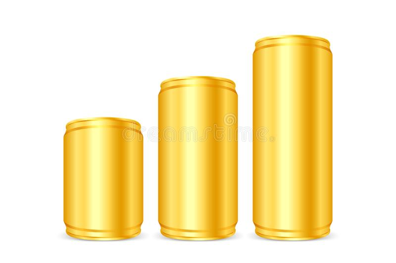 Canned gold, Iron cans golden, Set blank metallic gold beer or soda cans isolated on white, Empty tin drink can template. The Canned gold, Iron cans golden, Set royalty free illustration