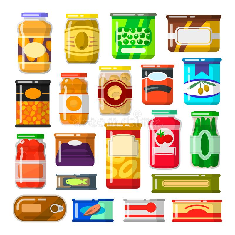 Canned goods set. Food preserved in a can, glass jar, metal container. Foodstuff and tinned goods. Vector flat style cartoon illustration on white background stock illustration