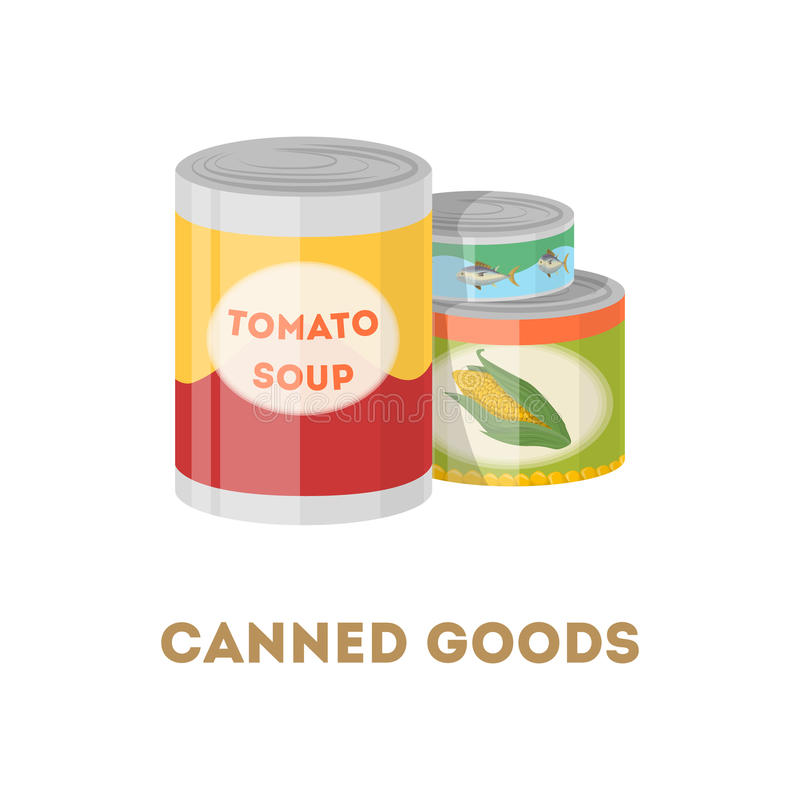 Canned goods set. Canned goods set on white background. Tomato soup, corn and tuna fish vector illustration