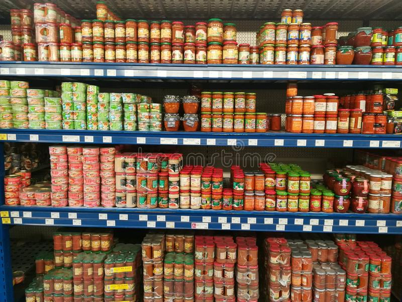 Storage Shelves With Canned Goods Stock Photo Image Of