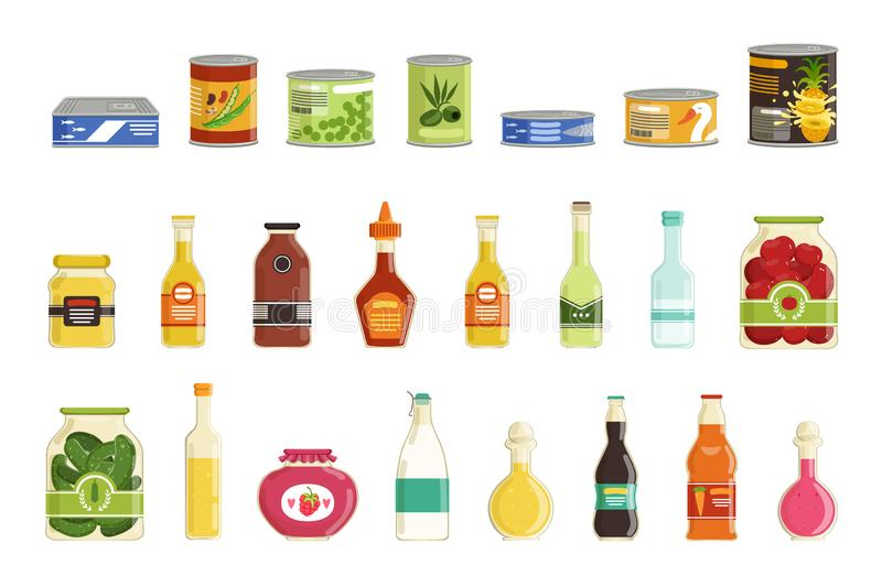 Canned goods vector set. Cartoon canned goods set. Tinned juices, soups, fish, sauces, vegetables conservation. Preserve food in metal tin and glass jar with stock illustration