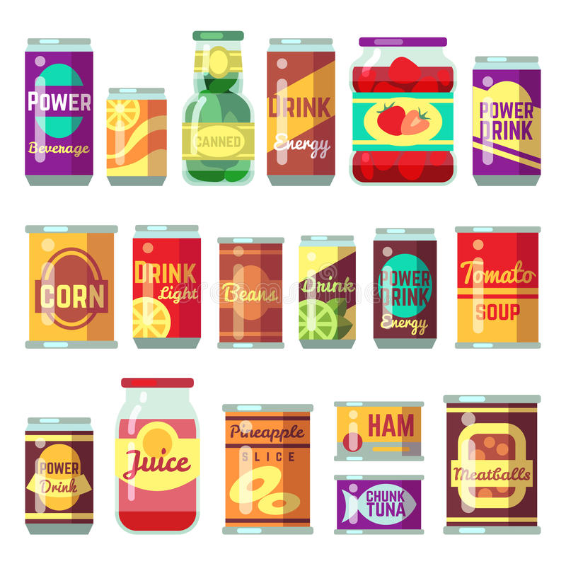 Canned goods vector set. Tinned food, conservation tomato soup and vegetables. Tin container conserve, canned tomato soup illustration royalty free illustration