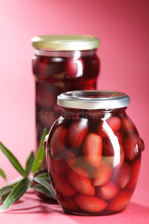 Canned Kalamata Olives royalty free stock images
