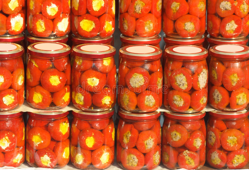 Canned peppers royalty free stock photo