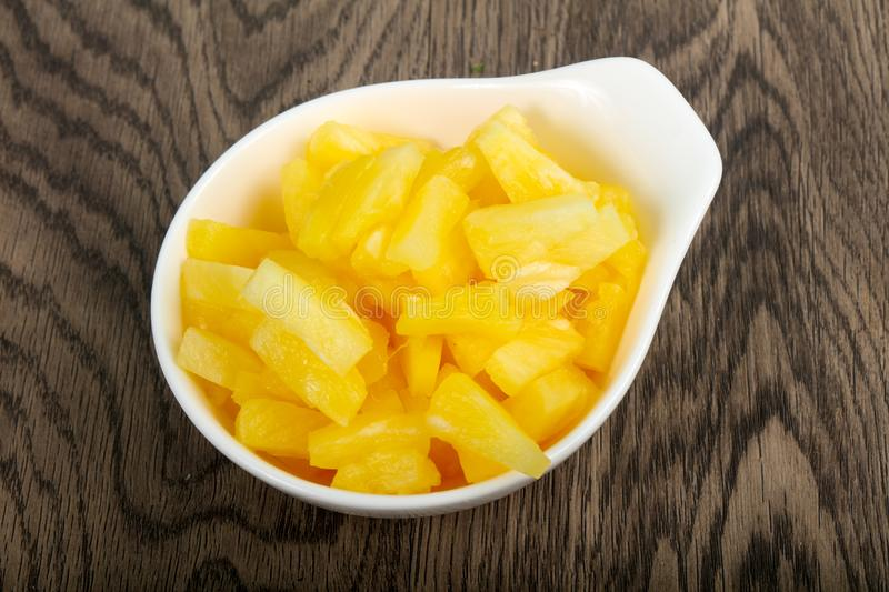 Canned pineapple stock image