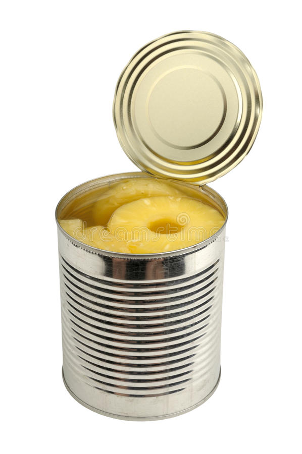 Canned pineapple in a can stock photography