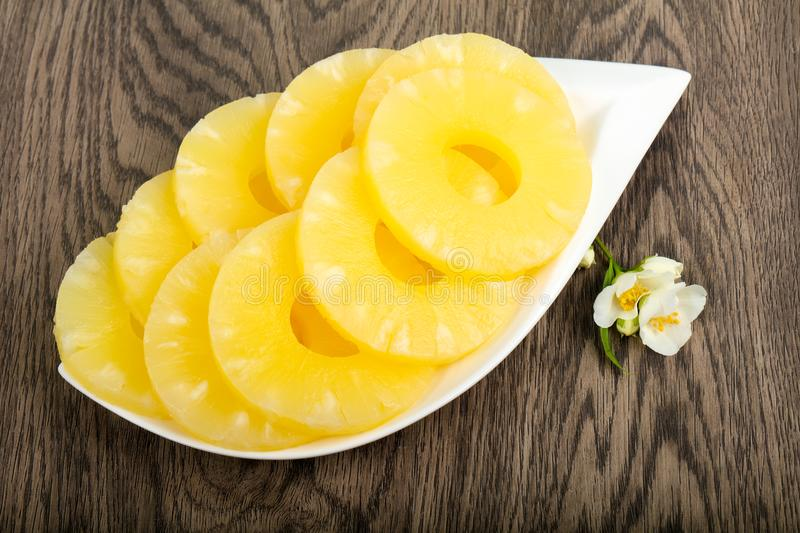 Canned pineapple stock photography
