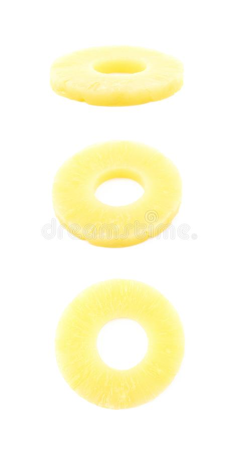 Canned pineapple slice composition stock photos