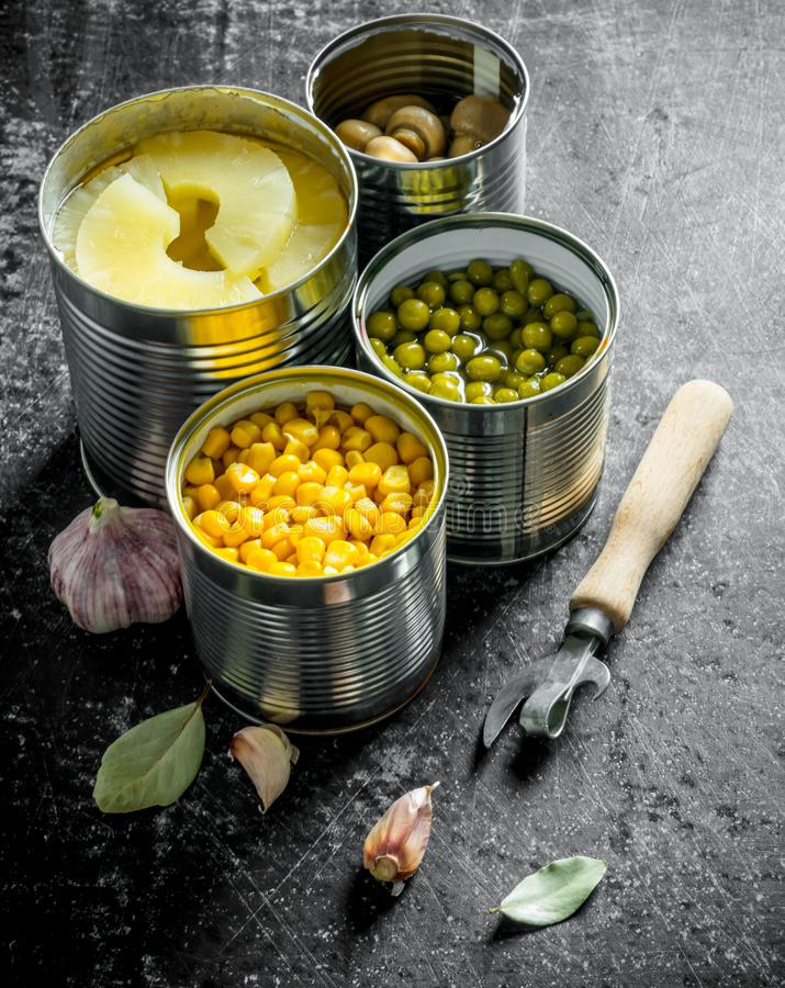 Canned Green Pea And Corn Stock Image Image Of Container