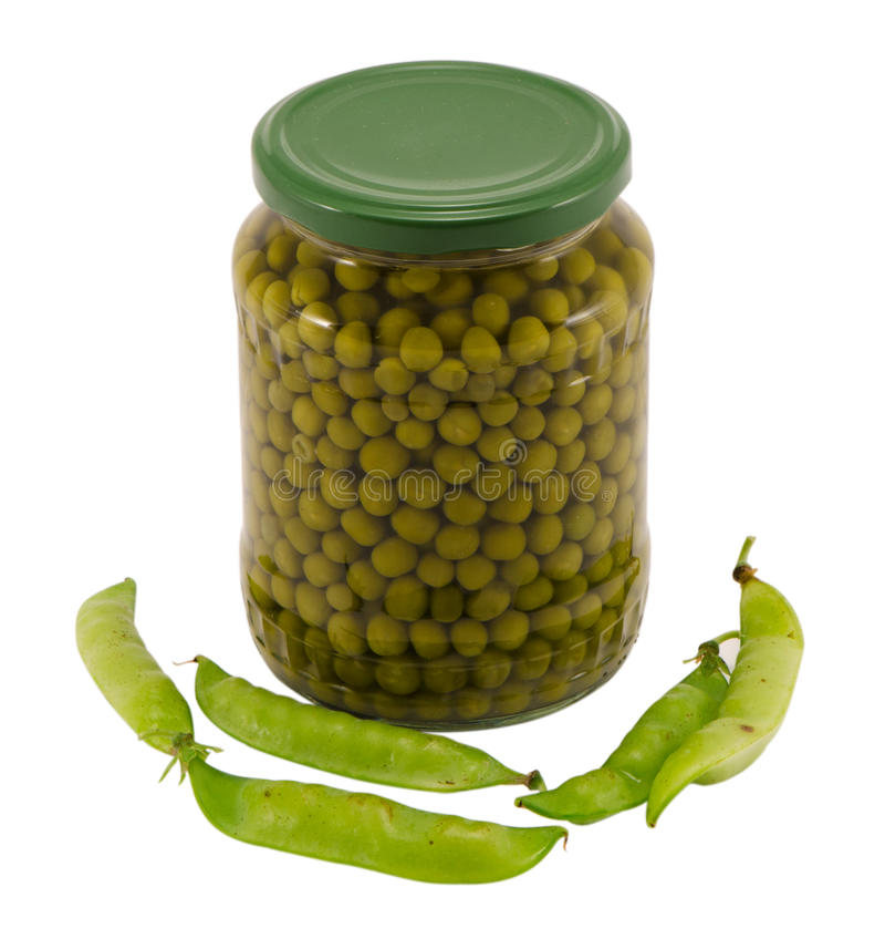Canned preserve pease glass pot jar raw shell food stock photography