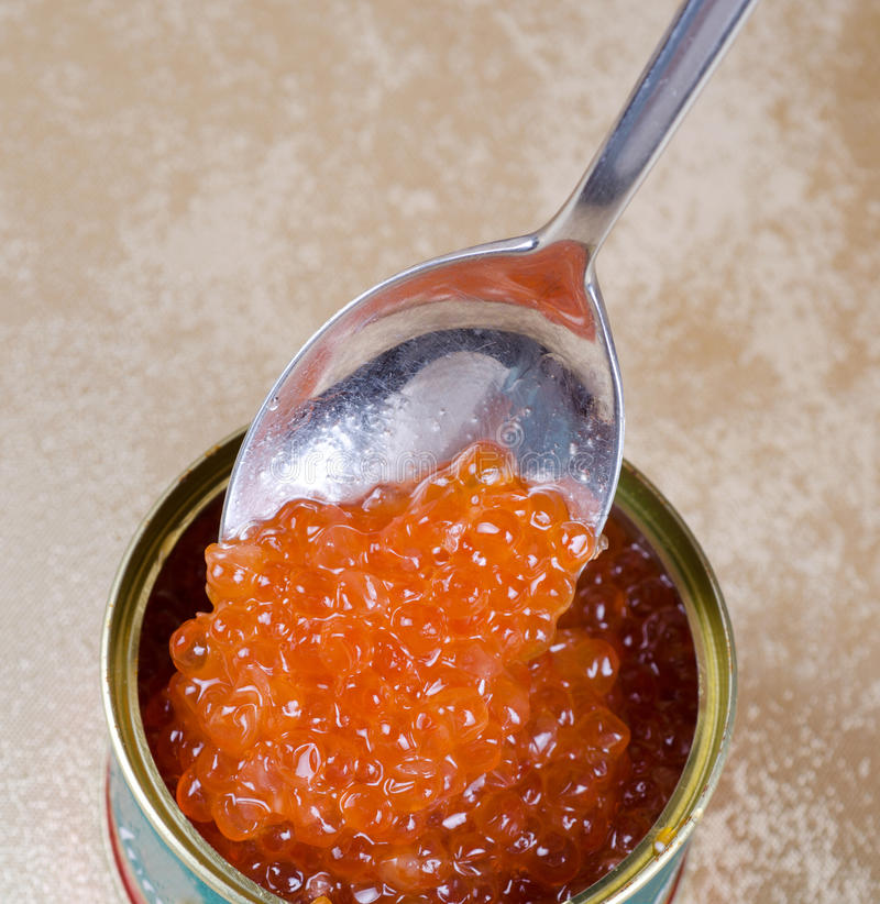 Canned salmon red caviar royalty free stock photography
