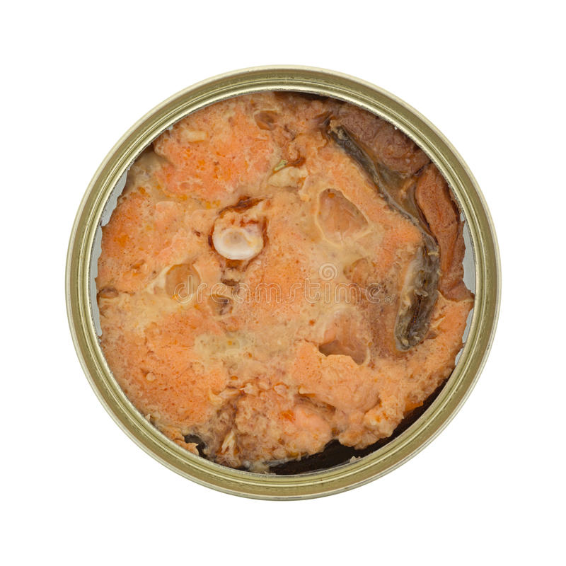 Canned salmon in tin on white background stock image