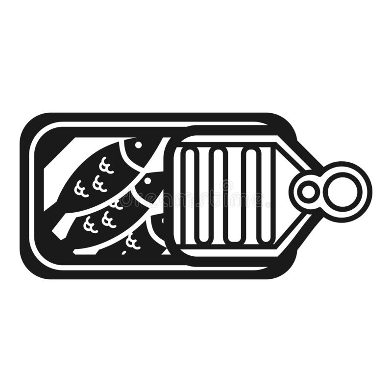 Canned sardines open icon, simple style vector illustration