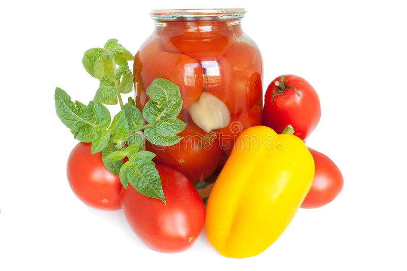 Canned tomatoes royalty free stock photo
