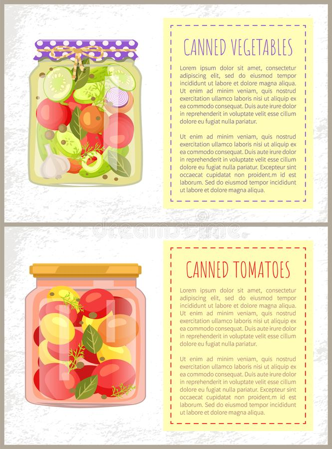 Canned Tomatoes Pickled Vegetables Mix Glass Jars royalty free illustration