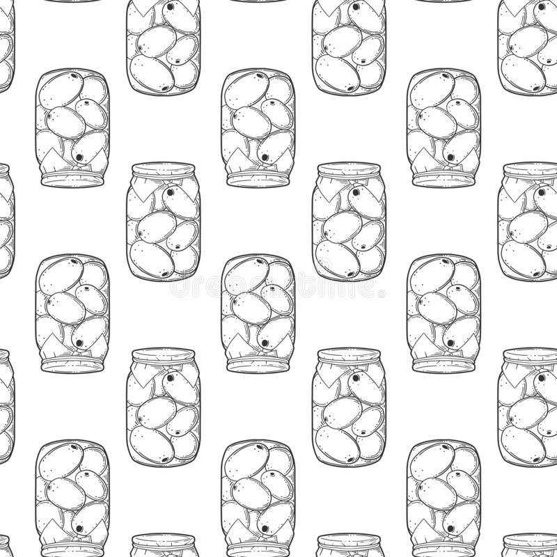 Canned tomatoes preserve. Vector concept in doodle and sketch style. Hand drawn illustration for printing on T-shirts, postcards. Seamless pattern for textile stock illustration