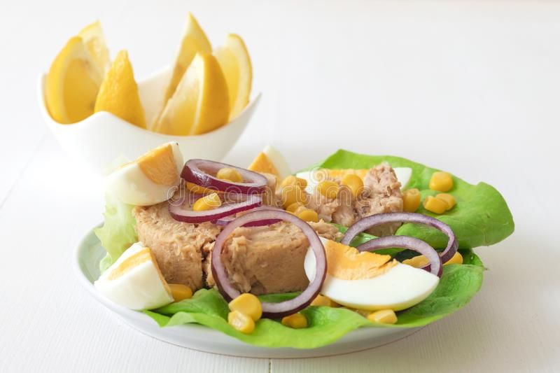 Tuna fish salad with sugar corn and eggs. Canned tuna with eggs, suggar corn, red onion rings on green lettuce leaf, slice of lemon in pocelain bowl..Tuna fish stock images
