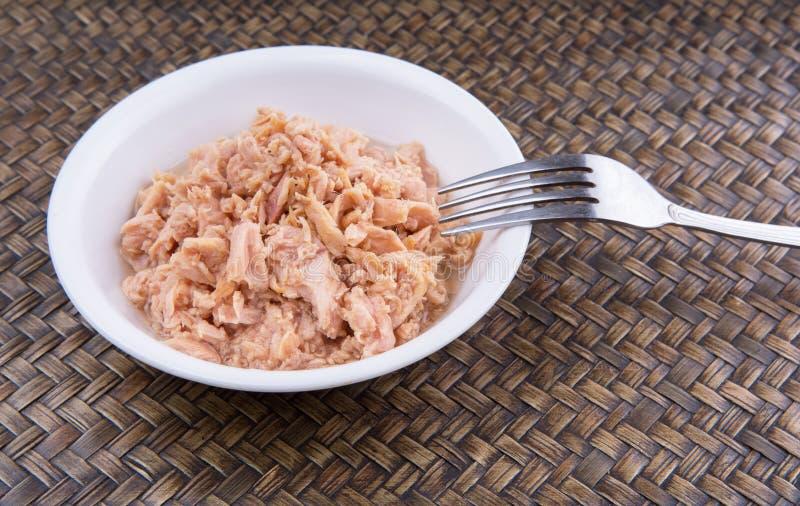 Canned Tuna Flake In A White Bowl I stock photo
