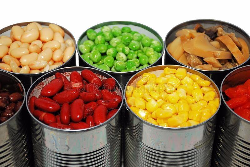 Canned vegetables royalty free stock images