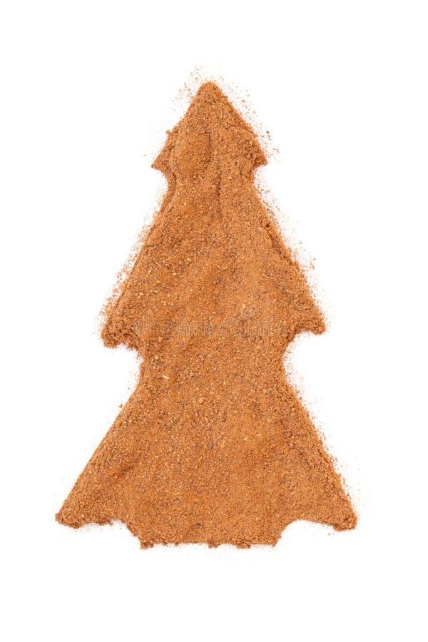 Cannella isolata nella figura dell'albero di Natale fotografia stock