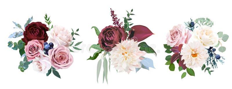Cannelle de d?sert, rose brun et poussi?reux et roses cr?meuses illustration de vecteur