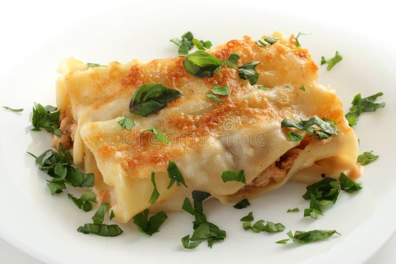 Cannelloni mit Mozzarella lizenzfreie stockbilder