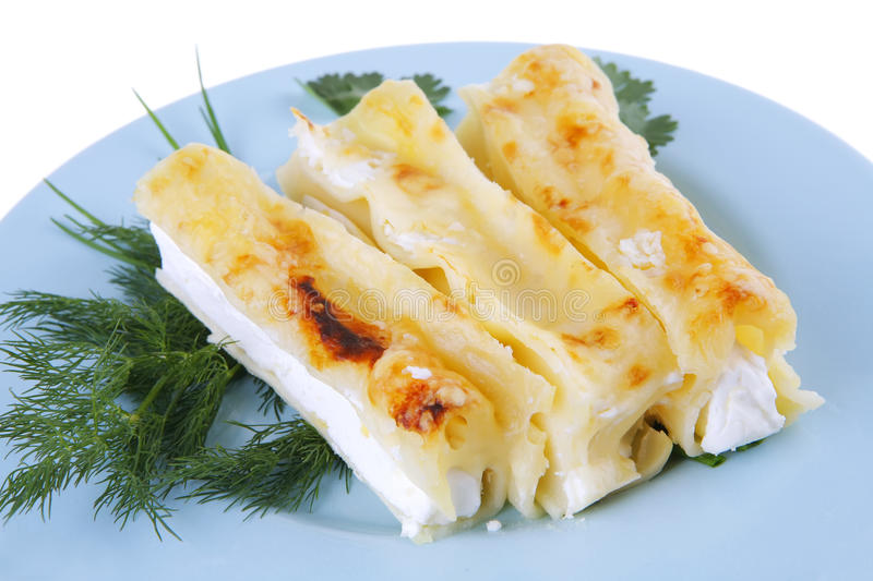 Download Cannelloni Served With Greenery Stock Photo - Image: 14482302