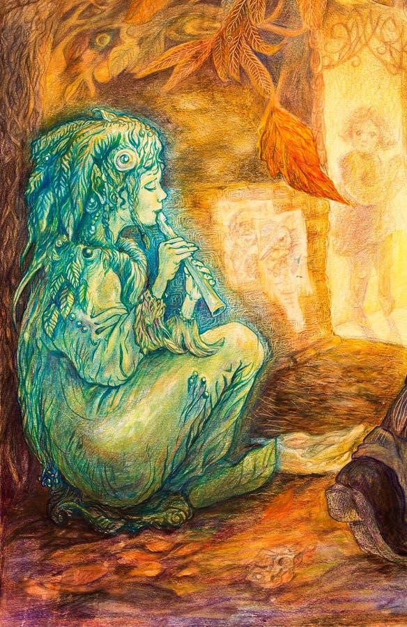 Cannelure jouante féerique de vert vert sur une rue le jour en retard d'automne illustration stock