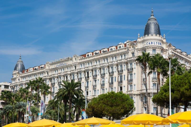 Cannes Carlton hotell, skjul D Azur royaltyfri fotografi